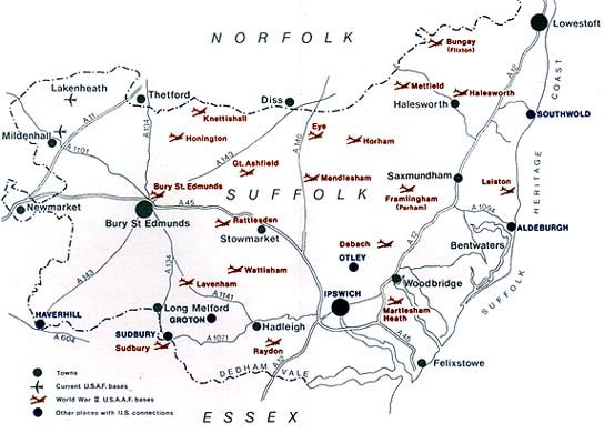 Map of Suffolk Air Bases