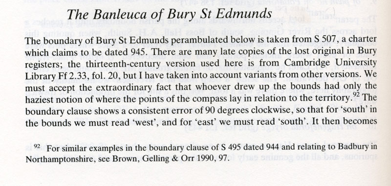 The boundaries of King Edmund's grant, later called the banleuca. Text by Cyril Hart 'The Danelaw' 1992